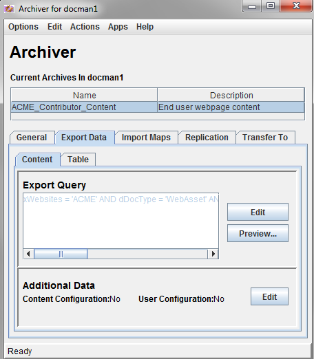 Archiver Export